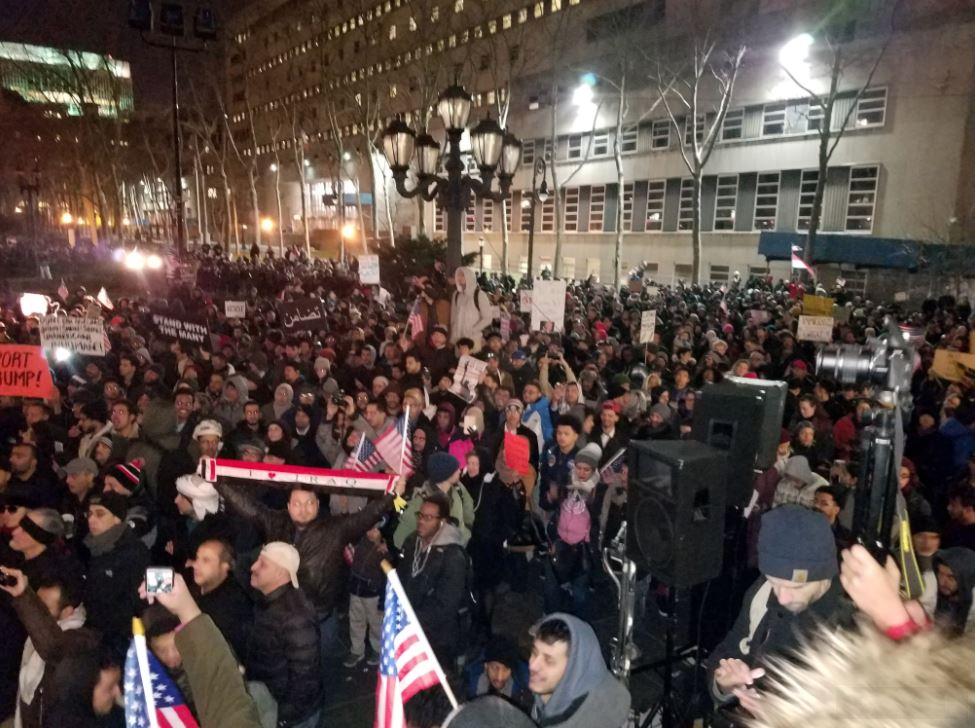 A crowd of several thousand jam Brooklyn's Borough Hall protesting the Trump administrations ban on immigration for seven Muslim nations. Photo courtesy of Abdul Razak Al-Kabili
