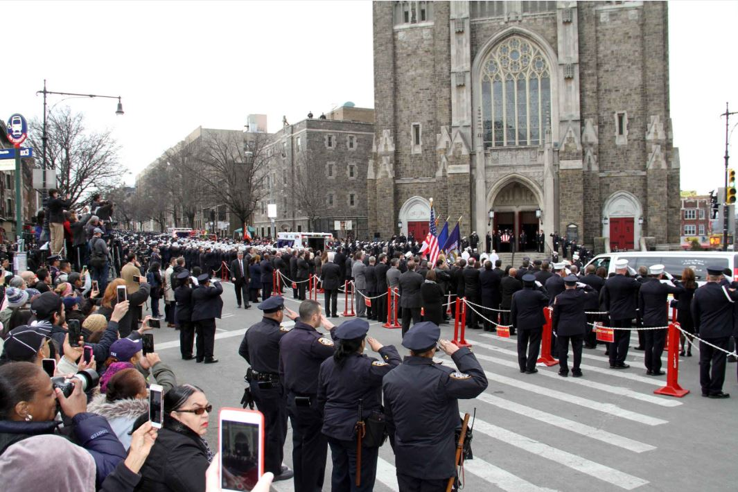 Thousands turned out to pay their respects for EMT Yadira Arroyo, who was struck and killed during a carjacking of her ambulance in Soundview. Photo by David Greene