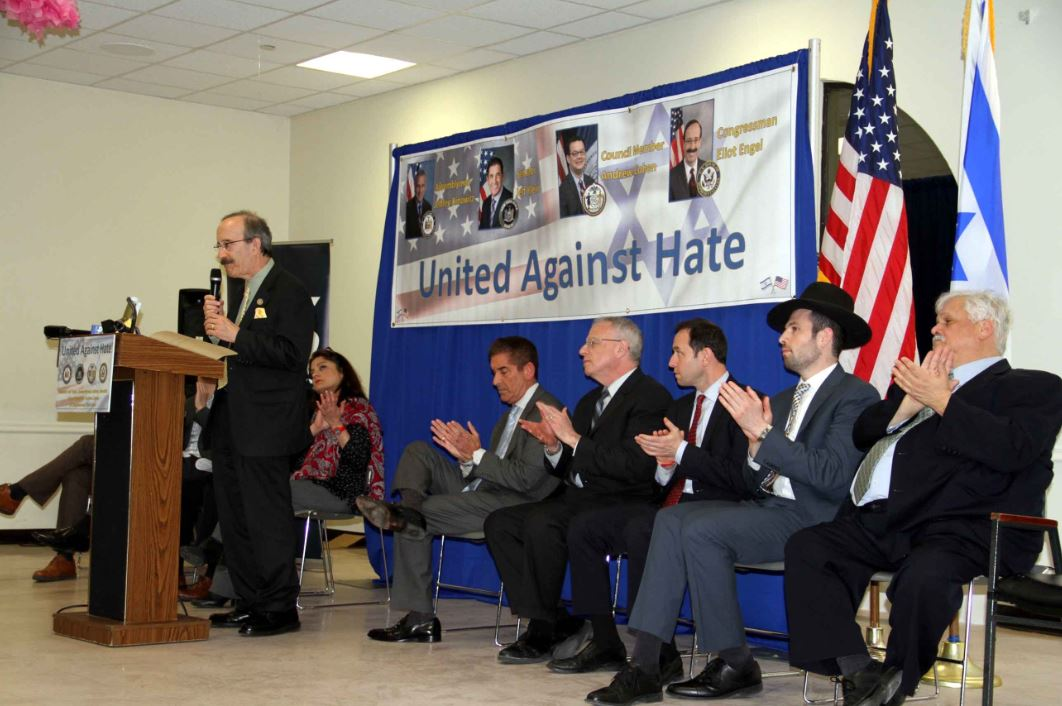 Congressman Eliot Engel gathered with fellow elected officials and religious leaders in discussing recent events.--Photo by David Greene
