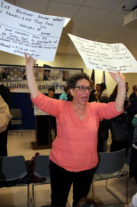 One Riverdale resident blames President Donald Trump and his administration for the recent increase in hate crimes and bomb threats against Jewish community centers.--Photo by David Greene