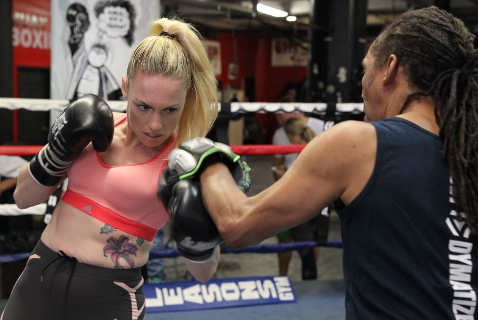 Heather Hardy working out. Credit: DiBella Entertainment Premier Boxing Champions