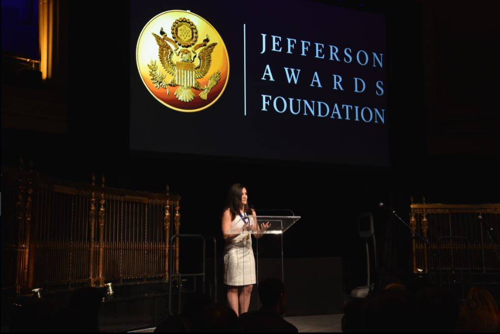 Laurie Hernandez speaks at Jefferson Awards. Photo: Luis Vazquez