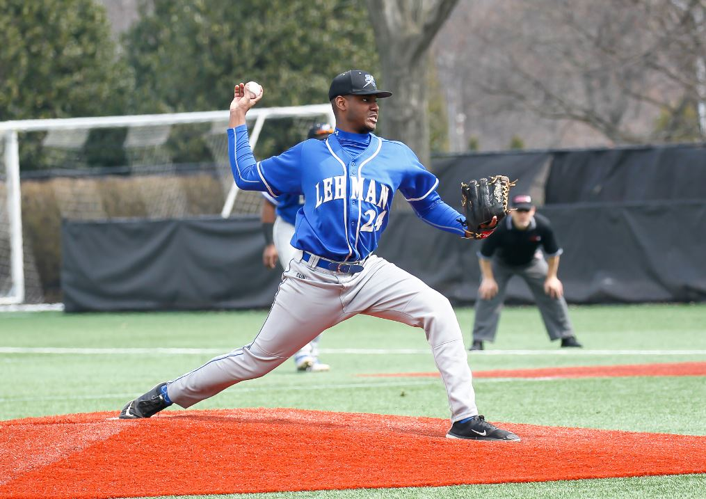 Lehman's starting pitcher, Jose Albrincole delivers pitch during CUNYAC baseball game between Lehman and John Jay on Saturday at Fordham University in the Bronx. Credit: Robert Cole