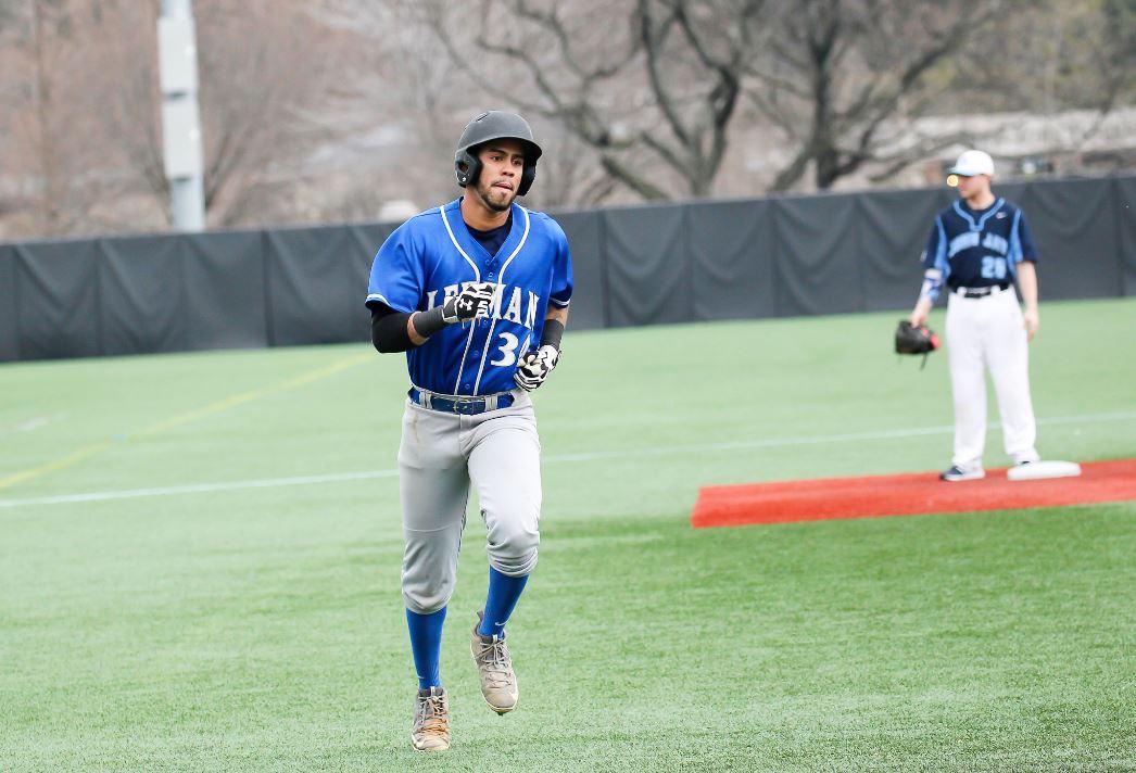 Jeffrey Ledesma runs bases after hitting home run during CUNYAC baseball contest between Lehman and John Jay on Saturday at Fordham University in the Bronx. Credit: Robert Cole