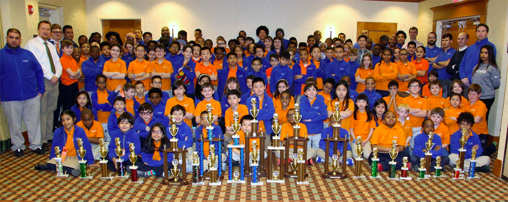 Scholars put their trophies on display! Photo credit Tom Perna.