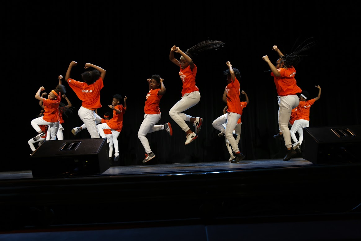 The Success Academy Network Dance Team performs for nearly 4,000 of their peers