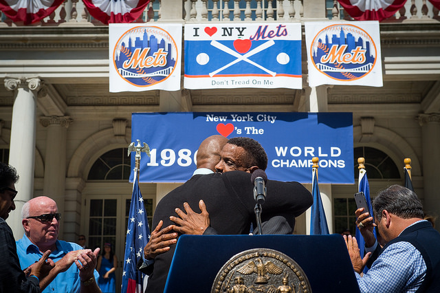 "Former teammates and NY Mets greats, Darryl Strawberry and Dwight ""Doc"" Gooden embrace on the steps of City Hall on Friday, April 28, 2017. Edwin J. Torres/Mayoral Photo Office."