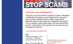 AARP Shredding Event, May 3rd