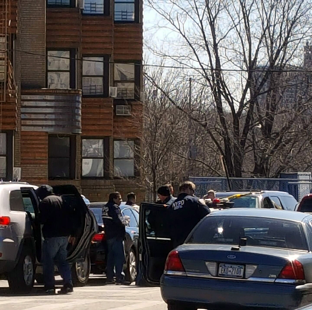 Police arrested one man and search for four others along East 204 Street and Webster Avenue.--Photo by Toby Norwood