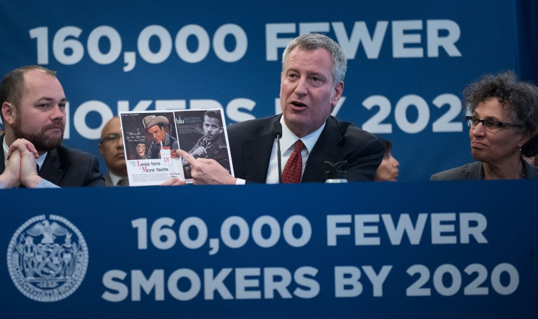 Mayor Bill de Blasio, Health Commissioner Mary Bassett and City Council Members announce sweeping legislation to curb smoking and tobacco usage during a press conference at the offices of the American Heart Association on Monday, April 19, 2017. Michael Appleton/Mayoral Photography Office