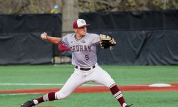 Fordham relief pitcher Kyle Martin, delivers pitch during A-10 baseball game between St. Joseph and Fordham at Houlihan Park, in the Bronx, New York on April 13, 2017. (Credit: Robert Cole).