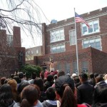 Actors participate in the Good Friday procession outside the Church of St. Brendan's in Norwood.--Photo by David Greene