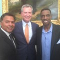"""Dwight """"Doc"""" Gooden Day at City Hall. Pictured (left to right), Ray Negron, Mayor Bill de Blasio, Doc Gooden. Credit: Ray Negron."""