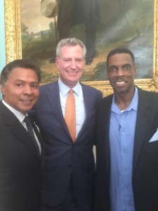 "Dwight ""Doc"" Gooden Day at City Hall. Pictured (left to right), Ray Negron, Mayor Bill de Blasio, Doc Gooden. Credit: Ray Negron."