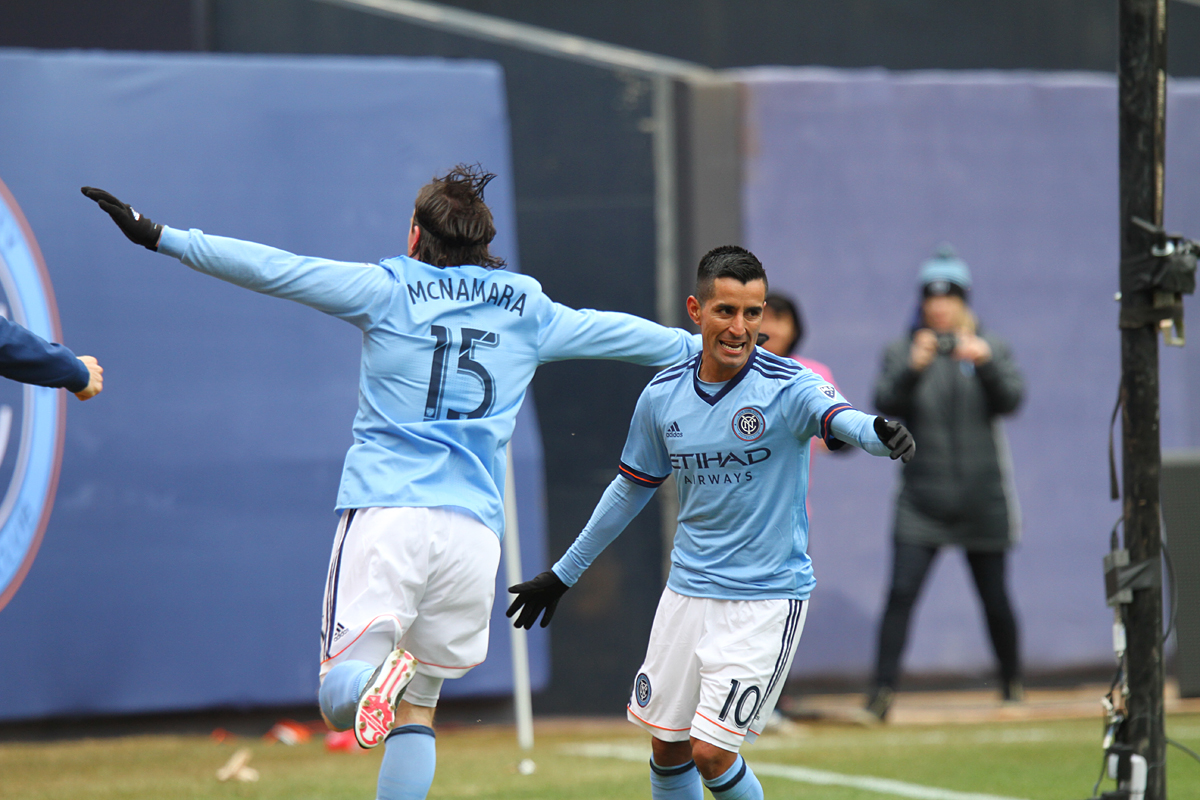 Thomas McNamara celebrates his first goal of the season, putting NYCFC up 2-1  against San Jose at the 67th minute of play. (Photo credit: Gary Quintal)