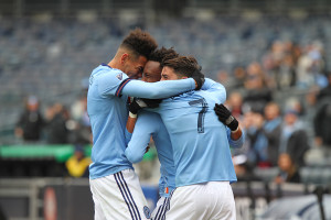 NYCFC celebrate Robert McNamara's first goal of the season, putting them up 2-1 against San Jose in the 67th minute of play.  (Photo credit: Gary Quintal)