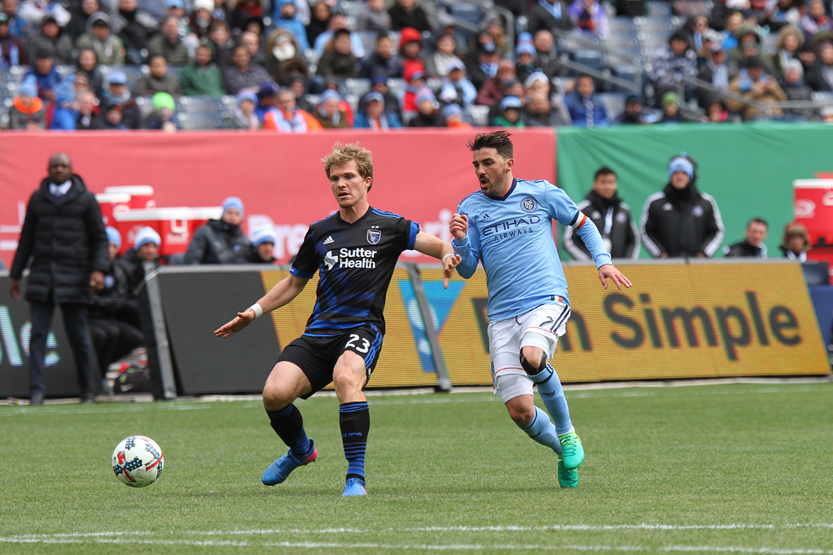 David Villa in action in the NYCFC defeat of San Jose, 2-1.