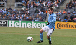 Tom McNamara of the NYCFCscores the winning goal that beats San Jose 2-1. (Photo credit: Gary Quintal)