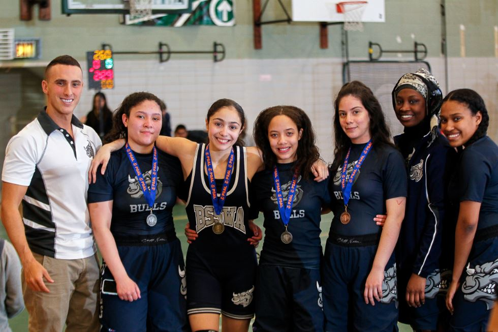 Truman team poses with medals from The Welcome Wolverine Tournament at The Bronx High School of Science in the Bronx, on Saturday April 8, 2017. Photo credit: Robert Cole.