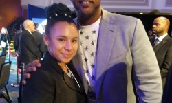 Margaret Rodriguez (left) stands with her hero NY Yankees pitcher, C.C. Sabathia (right). Credit: Ray Negron