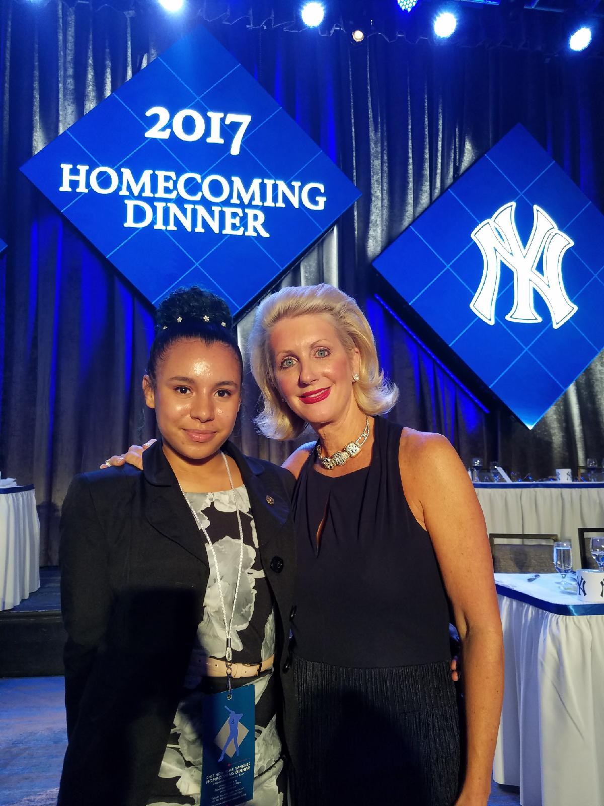 Margaret Rodriguez (left) poses with Jennifer Steinbrenner Swindal at the 2017 NY Yankees Welcome Dinner. Photo credit: Ray Negron.