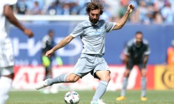 Apr 23, 2017; New York, NY, USA; New York City FC midfielder Andrea Pirlo (21) controls the ball against Orlando City SC during the first half at Yankee Stadium. Mandatory Credit: Brad Penner-USA TODAY Sports