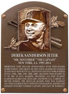 Derek Jeter's plaque on Monument Park, Yankee Stadium. Credit: Pinterest