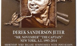 Derek Jeter's plaque on Monument Park, Yankee Stadium. Credit: Pinterest