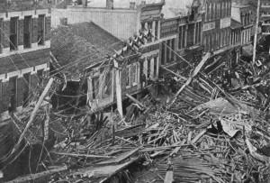 Main Street after flood. (Wikipedia)
