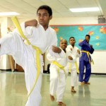 Young members of the MMCC karate class give a free demonstration.--Photo by David Greene