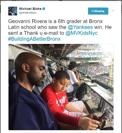 Geovanni Rivera is a 6th grader at Bronx Latin school who saw the @Yankees win. He sent a Thank u e-mail to @MVKidsNyc #BuildingABetterBronx