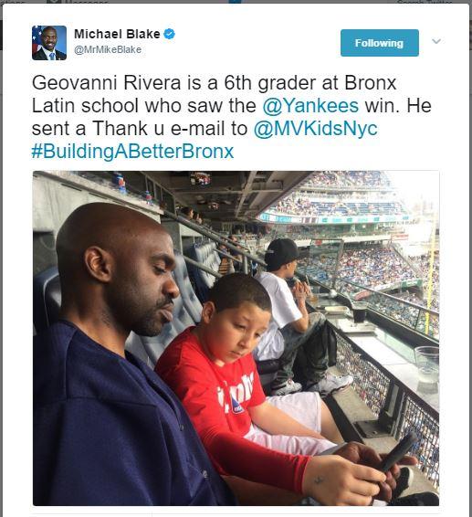 Geovanni Rivera is a 6th grader at Bronx Latin school who saw the @Yankees win. He sent a Thank u e-mail to @MVKidsNyc #BuildingABetterBronx
