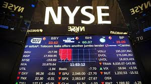 A screen above the floor of the New York Stock Exchange. CNBC