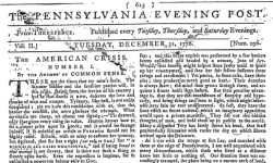 First Daily U.S. Newspaper — The Pennsylvania Evening Post