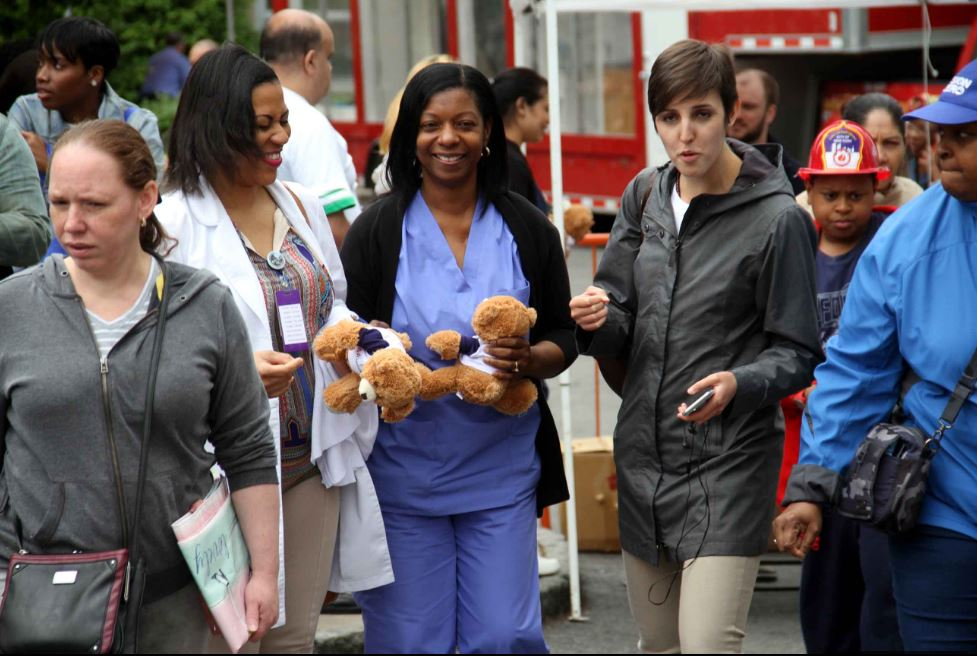 Worker's at the hospital also came away with teddy bears during the daylong event. Photo by David Greene