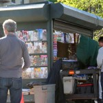 The Netflix crew also created an outdoor newsstand used in the episode.--Photo by David Greene