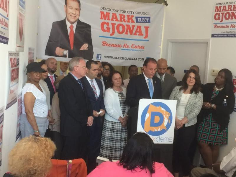 Bronx officials led by Democratic County Chairman Marcos Crespo, Bronx Borough President Ruben Diaz Jr., Senator Jeff Klein, Senator Jamal Bailey, Council Member Cohen, Council Member Gibson, Council Member Palma, Council Member Salamanca, Assemblyman Dinowitz, Assemblyman Michael Benedetto, and Assemblyman Victor Pichardo announced their support for Democrat Assemblyman Mark Gjonaj in his campaign for City Council.