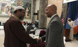 Borough President Ruben Diaz Jr. greets guests at his annual Ramadan Iftar Dinner ceremony, honoring the Muslim holy month of Ramadan.