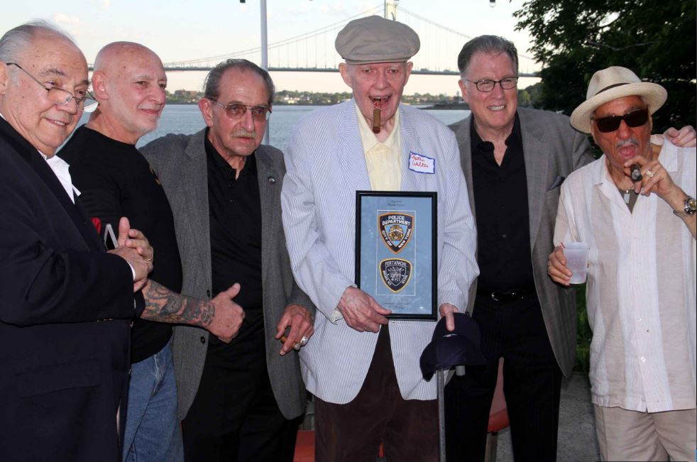 At the annual Fort Apache reunion are (l-r): Pete Tessetore, Ralph Friedman, Robert DiMartini, Tom Walker and Ralph Squillante. Photo by David Greene