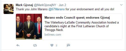 Democratic candidate John Marano quits #CD13 race and endorses Gjonaj.