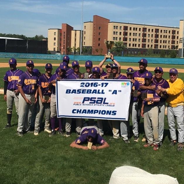"2016-17 Baseball ""A"" PSAL Champions. Credit: South Bronx Campus"