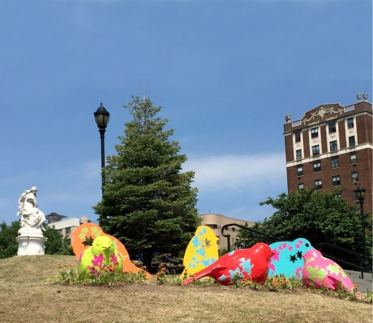 Venezuelan artists Nancy Saleme and Patricia Cazorla's latest public art installation at Joyce Kilmer Park in the Bronx.