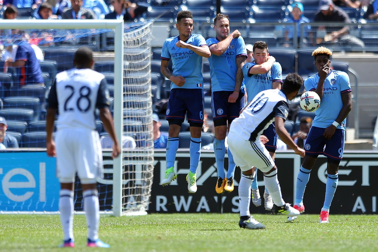 Jun 3, 2017; New York, NY, USA; New York City FC defender Alexander Callens (6) and defender Maxine Chanot (4) and midfielder Jack Harrison (11) and forward Sean Okoli (9) make a wall in front of a free kick by Philadelphia Union midfielder Roland Alberg (10) during the second half at Yankee Stadium. Credit: Brad Penner-USA TODAY Sports