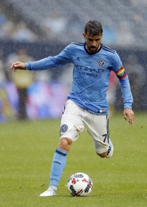New York City FC forward David Villa (7) in action against the Seattle Sounders during the first half at Yankee Stadium. Credit: Adam Hunger-USA TODAY Sports