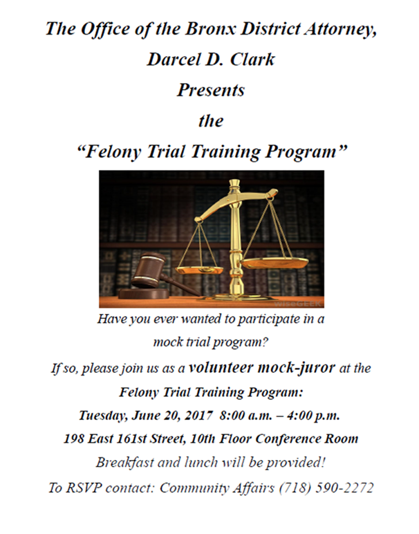 "Felony Trial Training program is looking for volunteer ""mock jurors."""