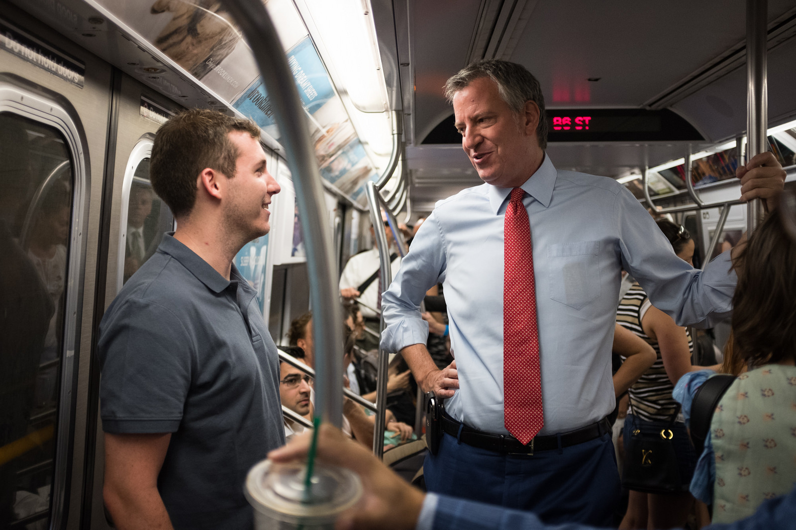 New York City Mayor Bill de Blasio rides the Q Train to Jackson Heights on Friday, July 21st, 2017. Edwin J. Torres/Mayoral Photo Office.