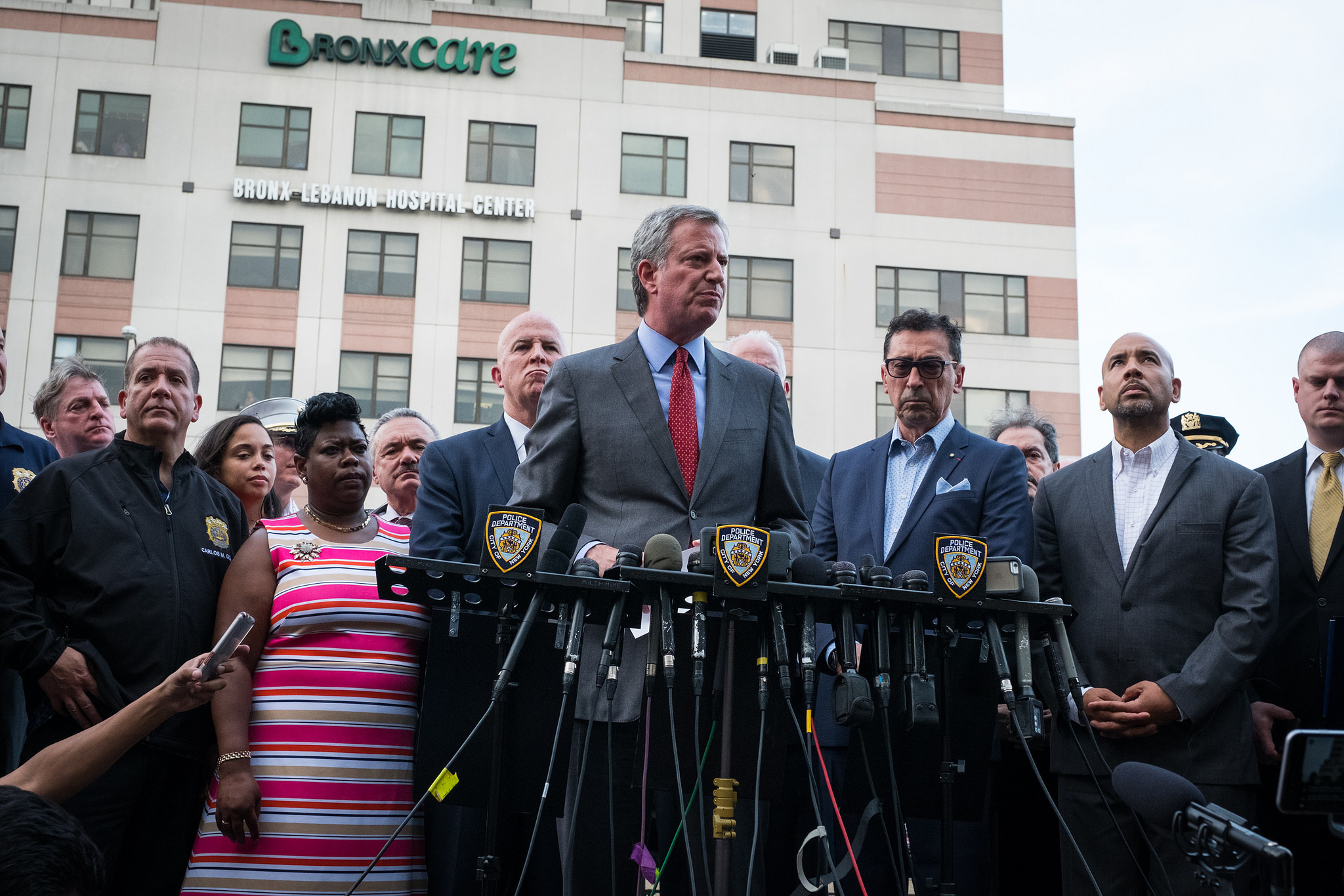 New York City Mayor de Blasio, Police Commissioner O'Neill, and Fire Commissioner Nigro respond to a shooting at Bronx Lebanon Hospital on Friday, June 30th, 2017. Edwin J. Torres/ Mayoral Photography Office.