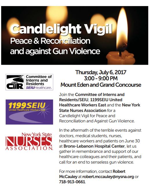 The Vigil will be Thursday, July 6th from 3:00pm to 9:00PM on the Grand  Concourse and Mount Eden.