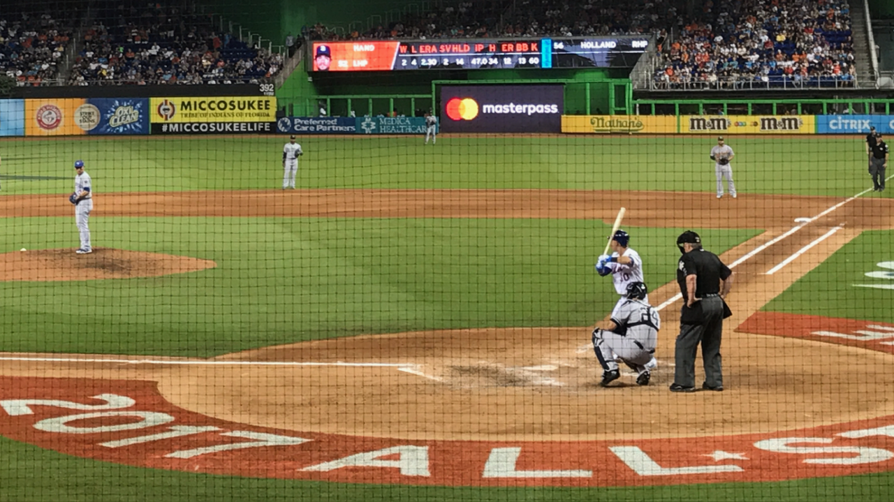 NY Mets Michael Conforto at bat and Yankees Gary Sanchez. Credit: Mira Soto behind the plate  - MLB All-Star Game 2017