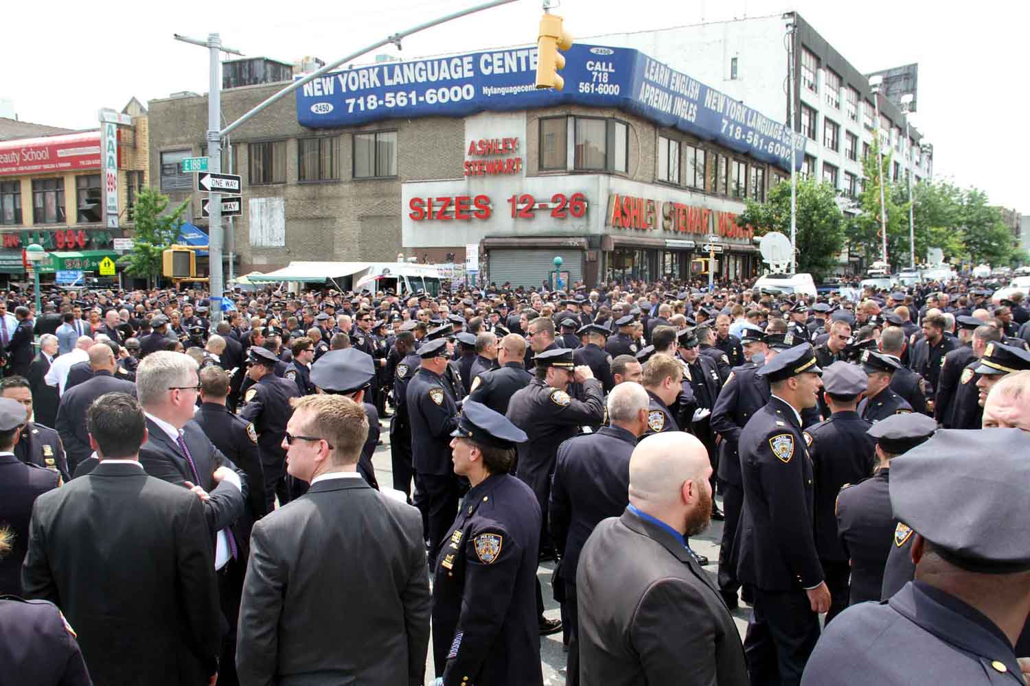 Thousands of police officers jam the Grand Concourse for fallen NYPD officer Miosotis Familia, 48.--Photo by David Greene